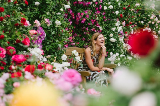 Visitor-relaxes-with-flowers-at-chelsea